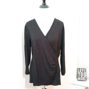 Talbots Black Faux Wrap 3/4 Sleeve Top